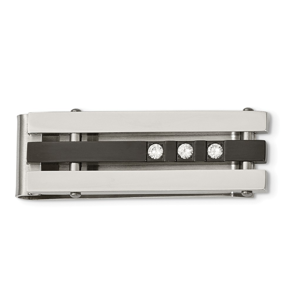 Two-Tone Stainless Steel and Cubic Zirconia Money Clip