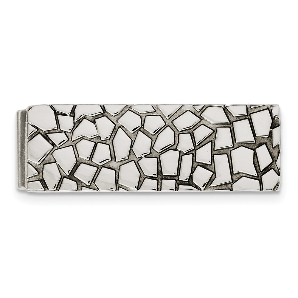 Polished Cobblestone Stainless Steel Money Clip