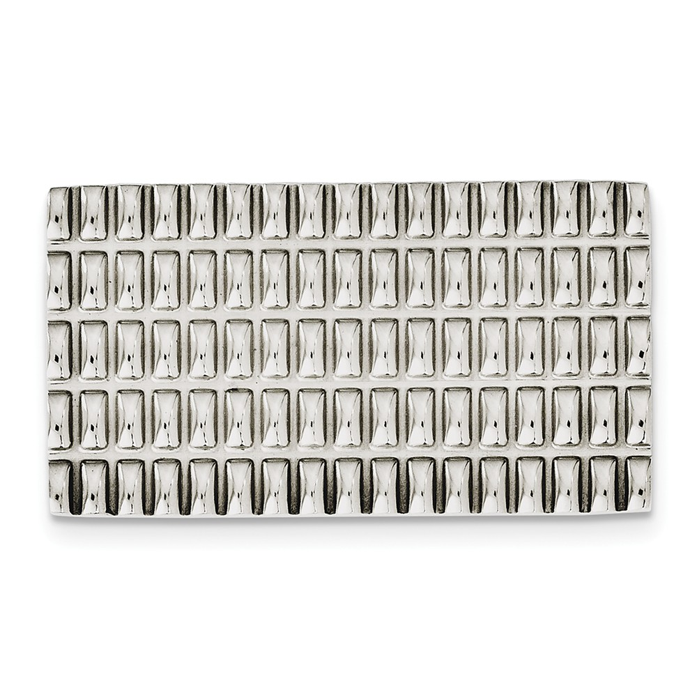 Wide Polished and Textured Money Clip in Stainless Steel