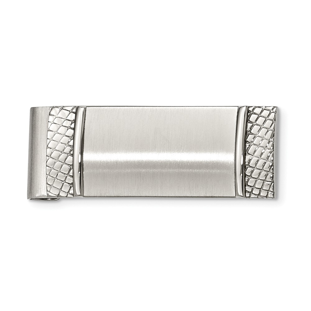 Brushed and Textured Spring Loaded Stainless Steel Money Clip