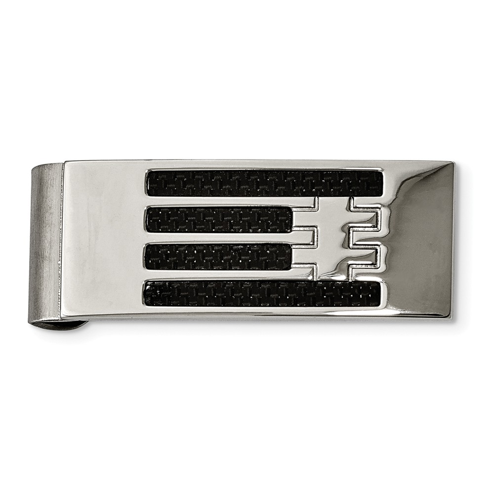 Black Carbon Fiber Striped and Polished Stainless Steel Money Clip