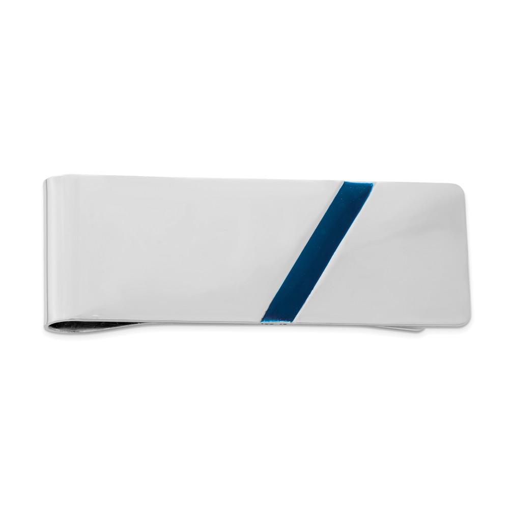 Blue Enameled Diagonal Stripe Sterling Silver Money Clip