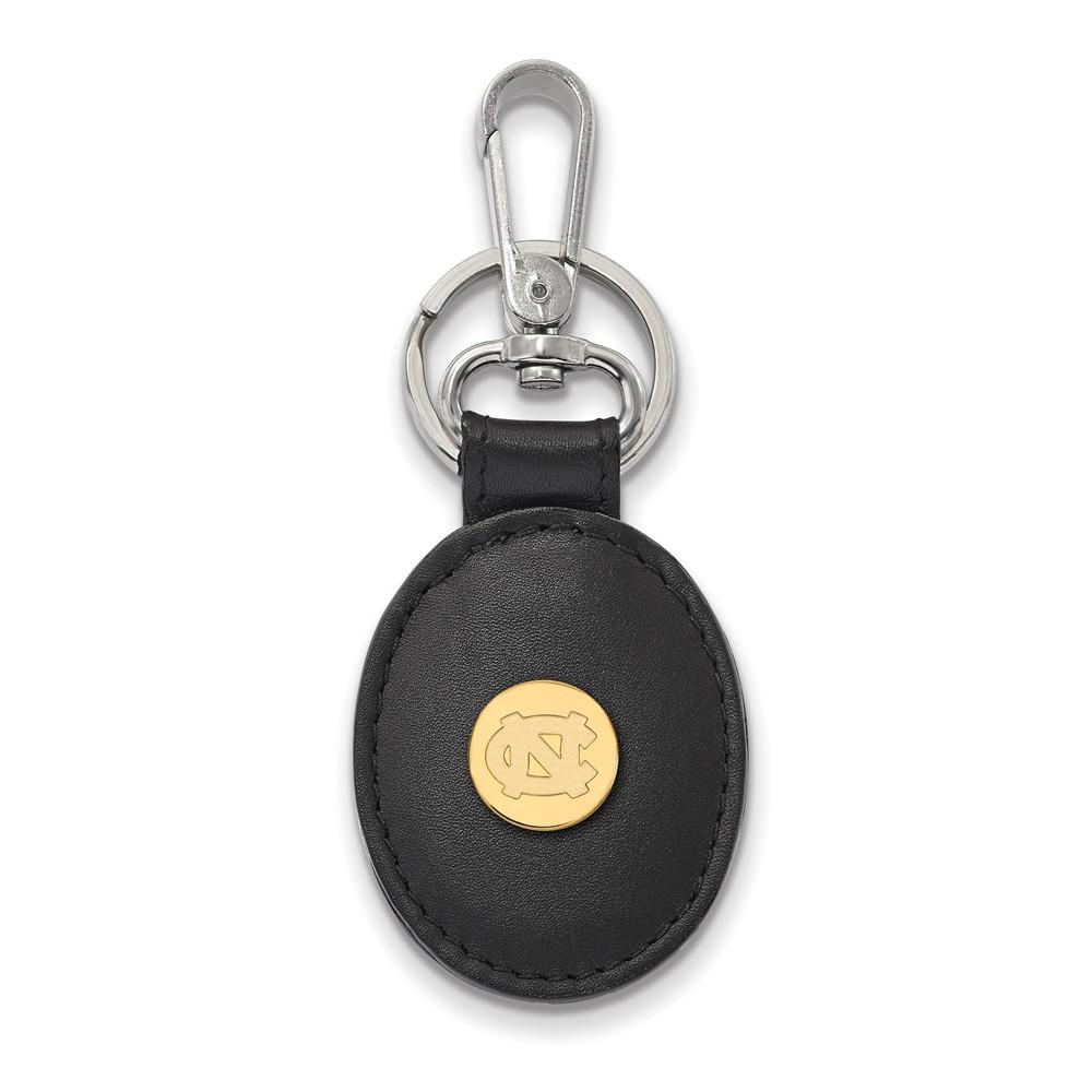 NCAA 14k Gold Plated Silver North Carolina Leather Key Chain