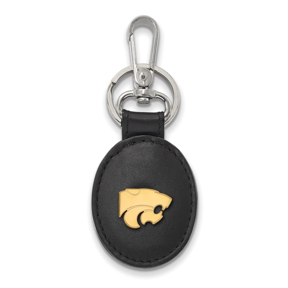 NCAA 14k Gold Plated Silver Kansas State Black Leather Logo Key Chain