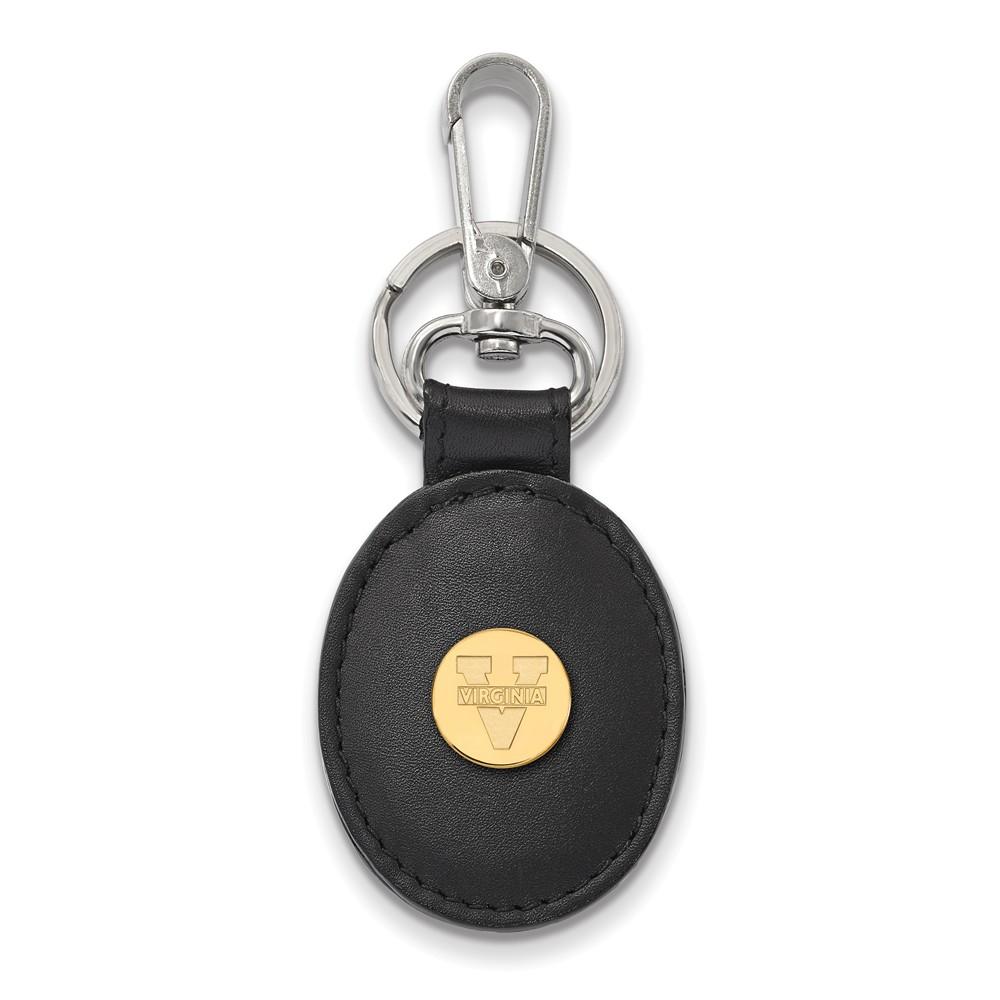 NCAA 14k Gold Plated Silver U of Virginia Black Leather Logo Key Chain