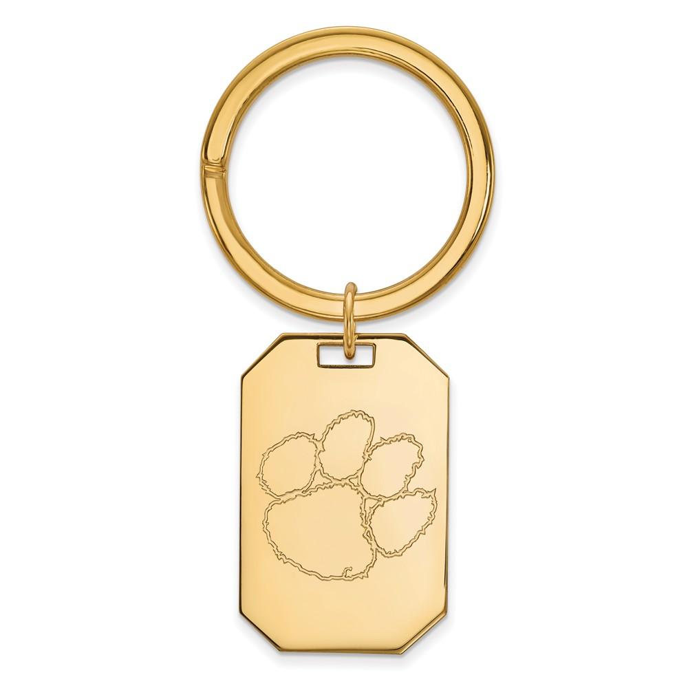 NCAA 14k Gold Plated Silver Clemson U Key Chain