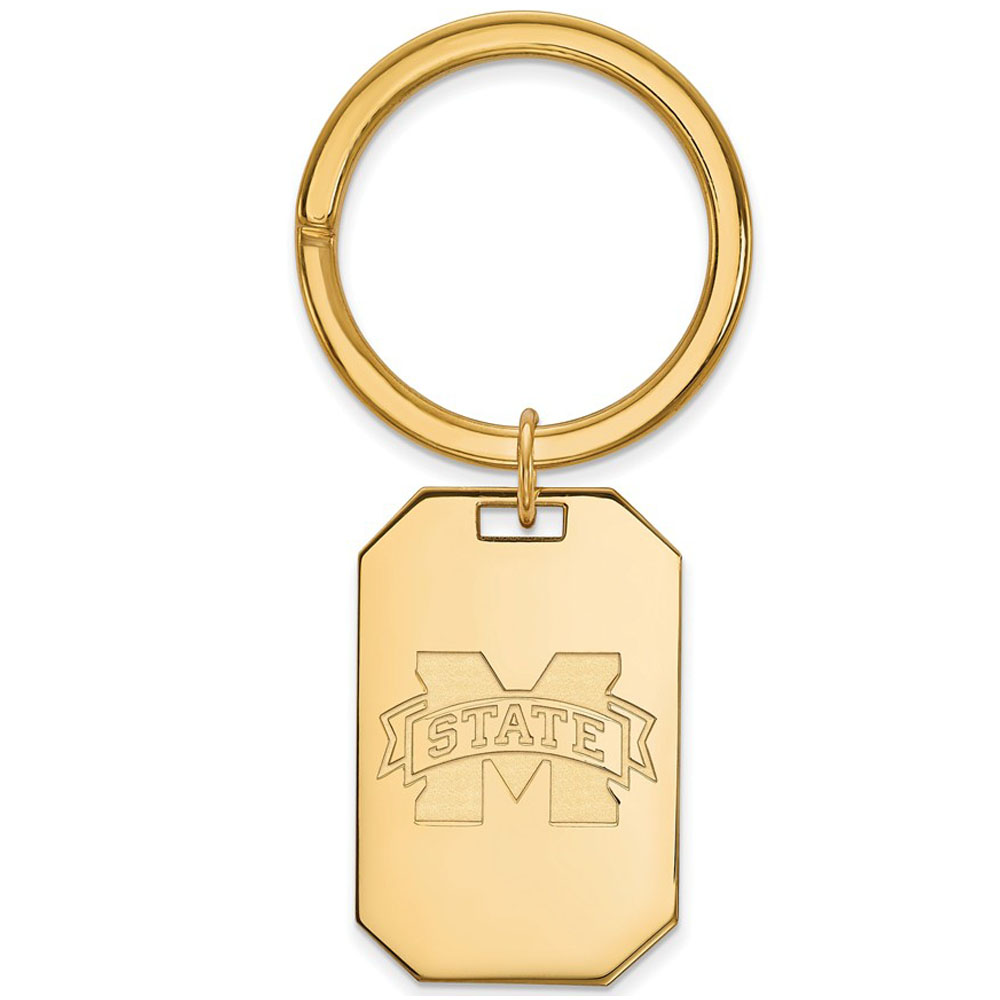 NCAA 14k Gold Plated Silver Mississippi State Key Chain