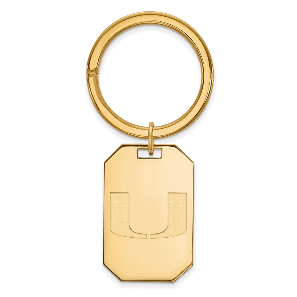 NCAA 14k Gold Plated Silver U of Miami Key Chain