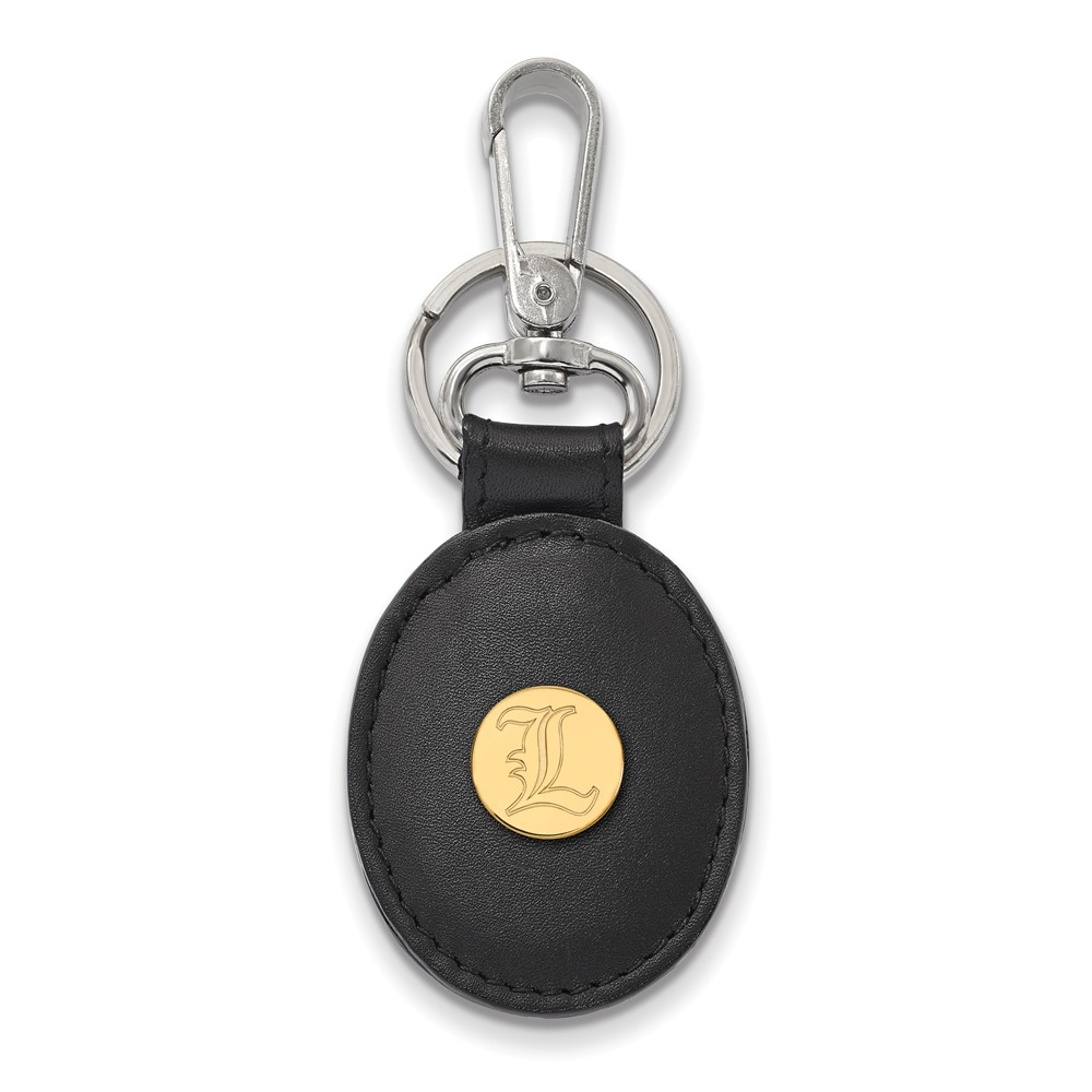 NCAA 14k Gold Plated Silver U of Louisville Black Leather Key Chain