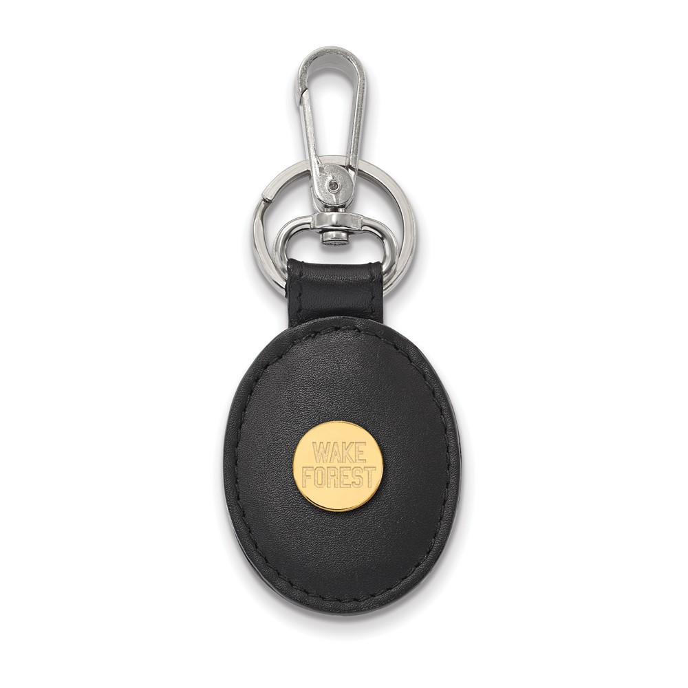 NCAA 14k Gold Plated Silver Wake Forest U Black Leather Key Chain