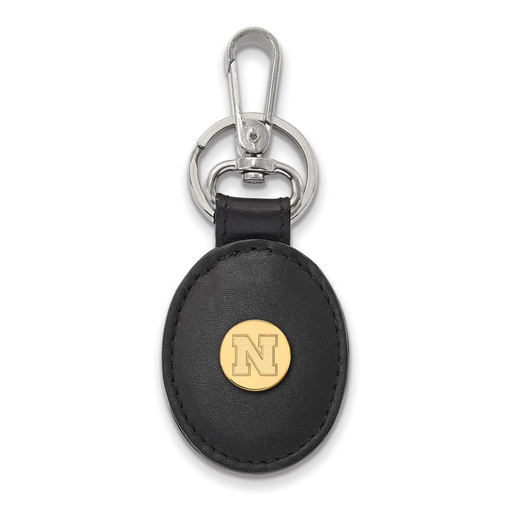 NCAA 14k Gold Plated Silver U of Nebraska Black Leather Key Chain