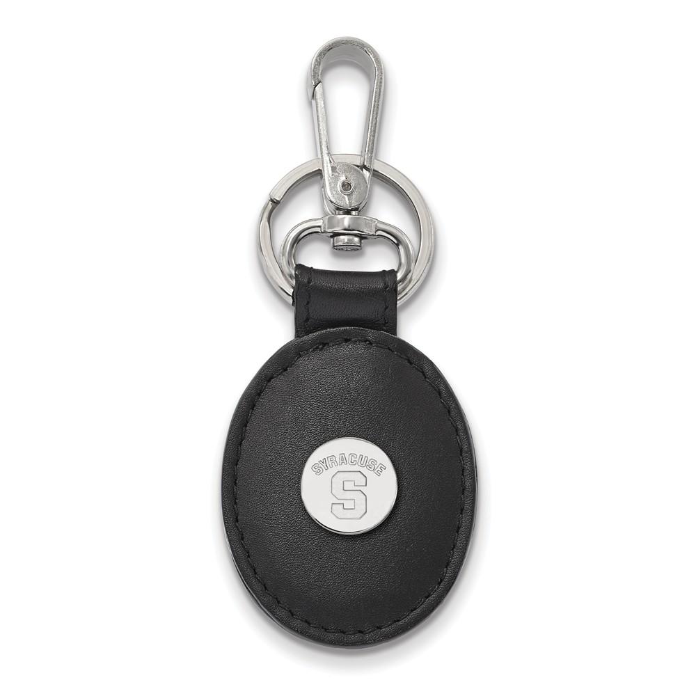NCAA Sterling Silver Syracuse U Black Leather Key Chain