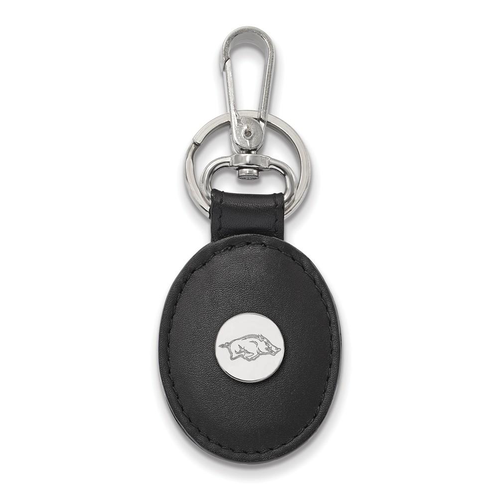 NCAA Sterling Silver U of Arkansas Black Leather Key Chain