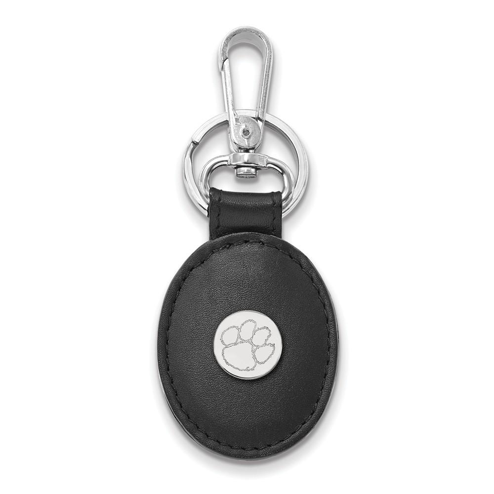 NCAA Sterling Silver Clemson U Black Leather Key Chain