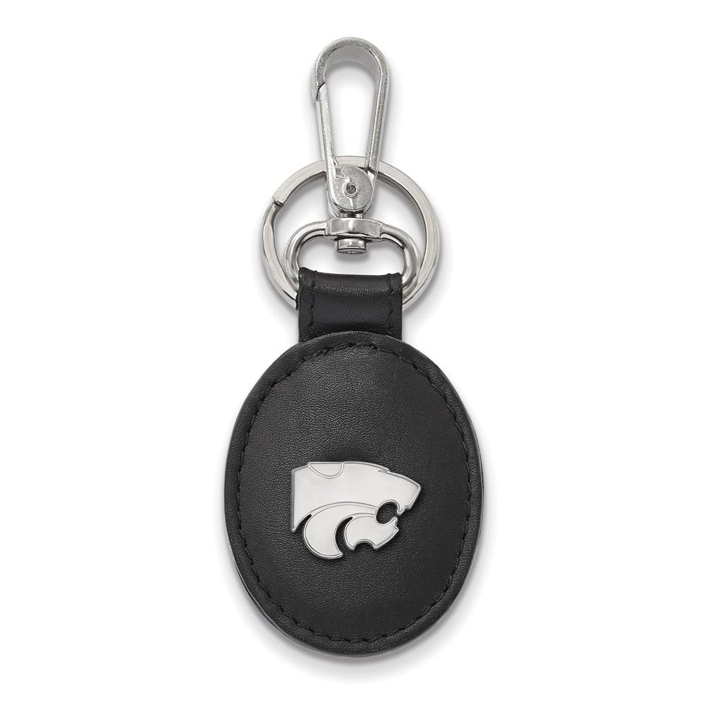 NCAA Sterling Silver Kansas State Black Leather Logo Key Chain