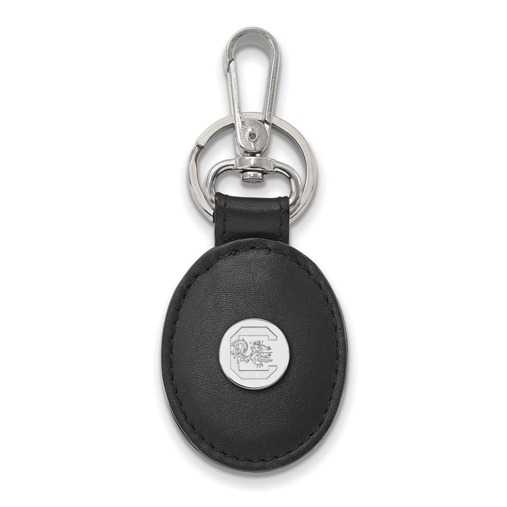 NCAA Sterling Silver South Carolina Black Leather Logo Key Chain