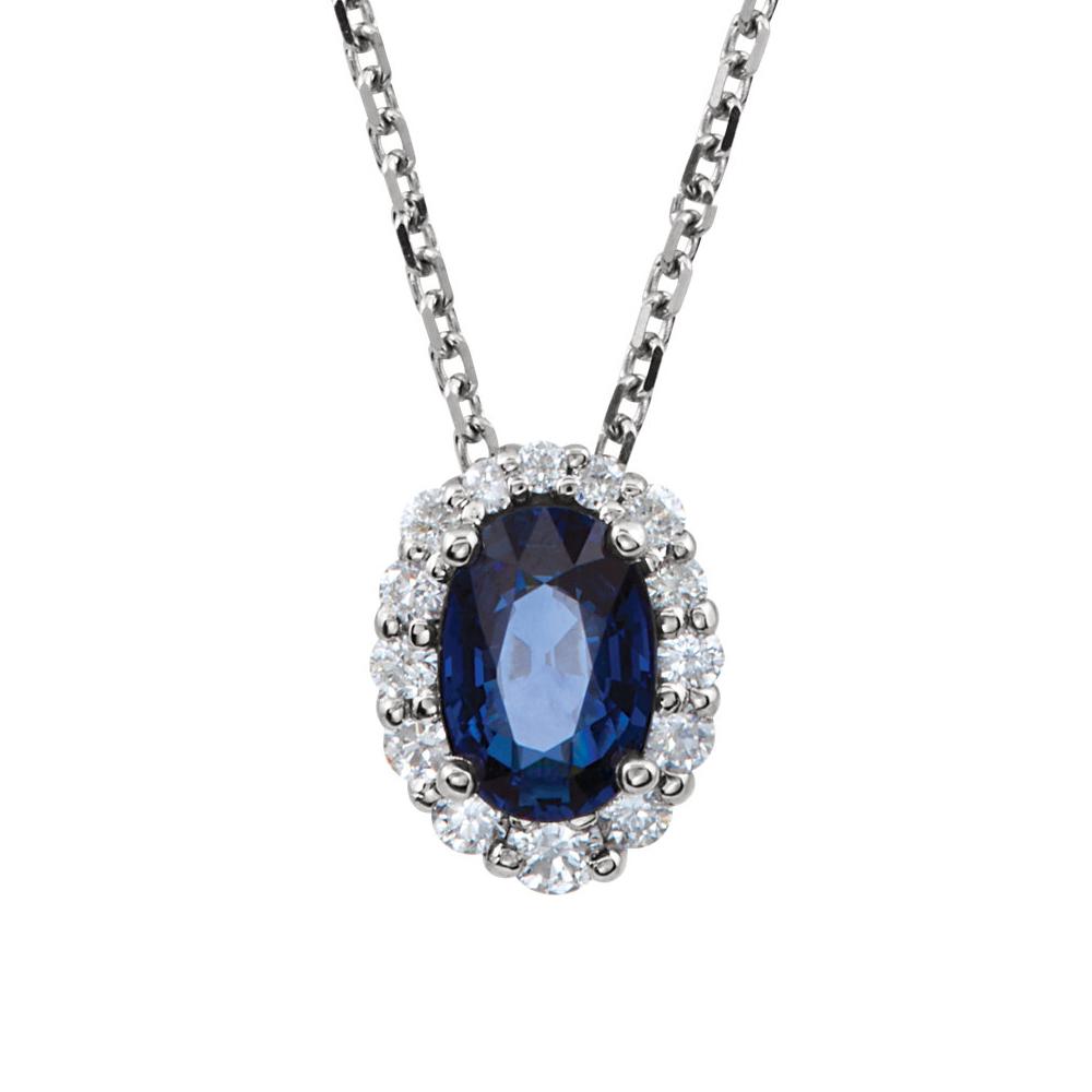 Sapphire | Necklace | Diamond | White | Halo | Oval | Gold | Blue