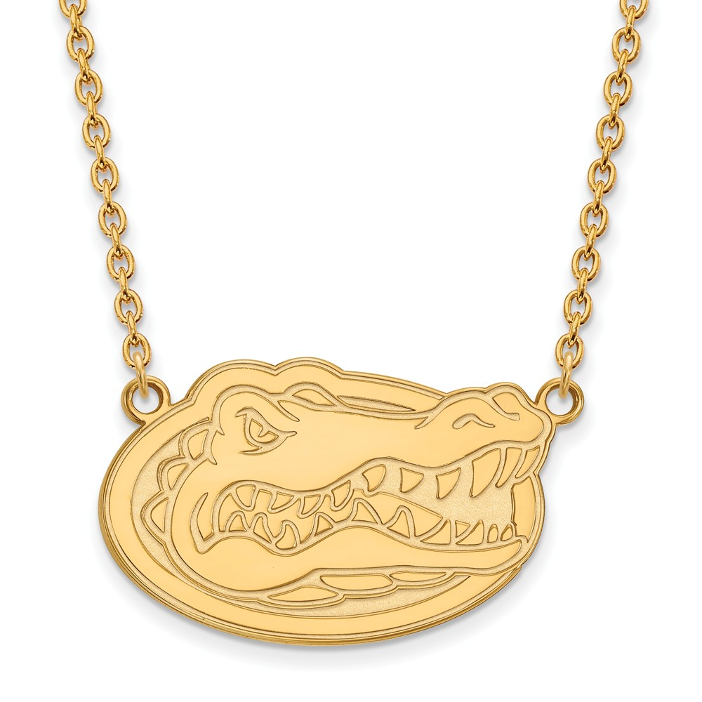 Necklace | Florida | Pendant | Silver | Gator | Plate | Large | NCAA | Gold