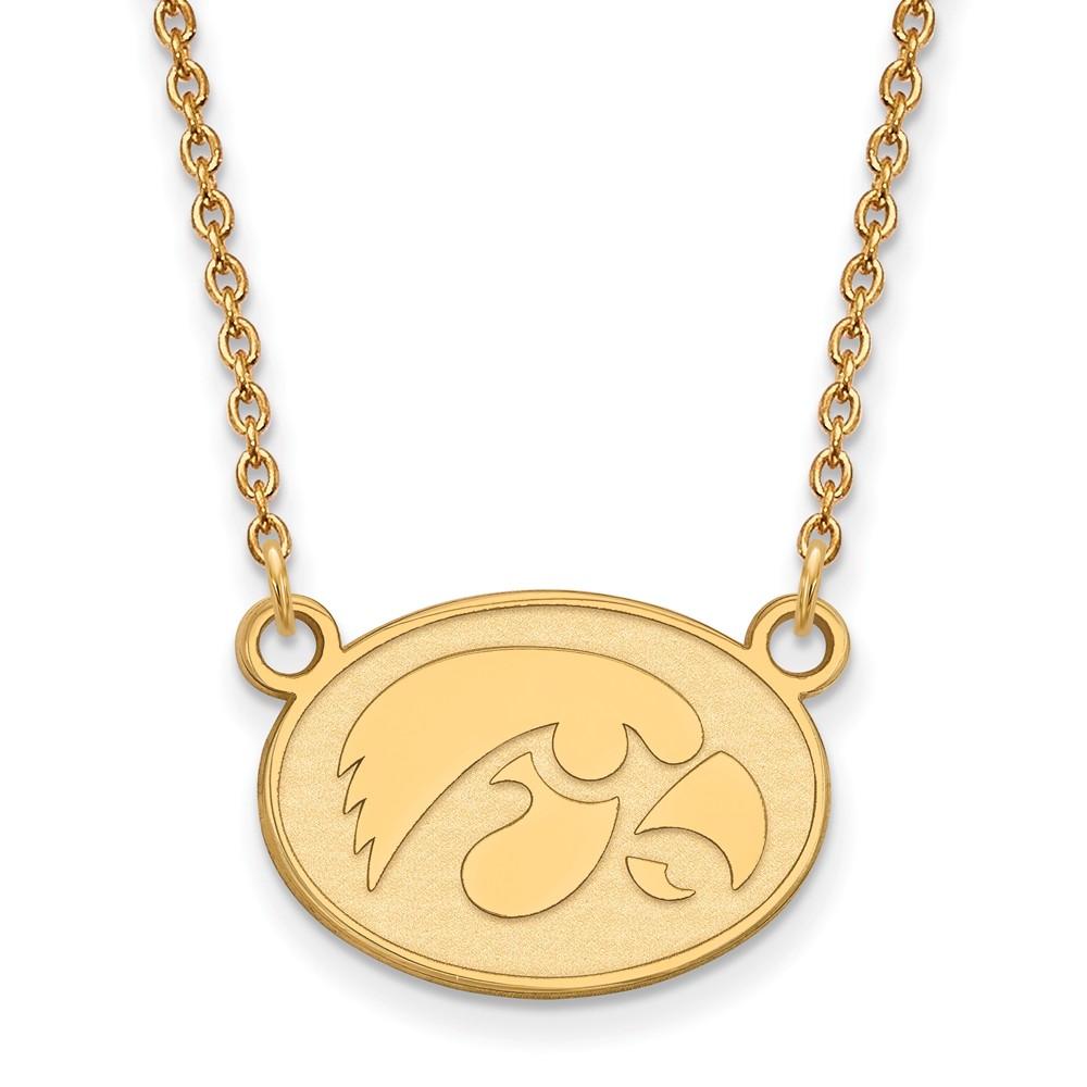 Necklace | Hawkeye | Pendant | Yellow | Small | Iowa | Disc | NCAA | Gold