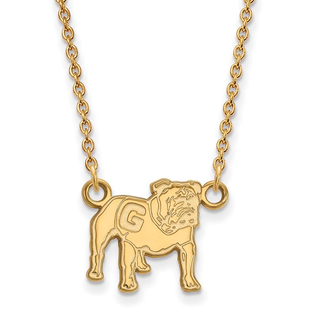 Necklace | Bulldog | Georgia | Silver | Plate | Small | NCAA | Gold