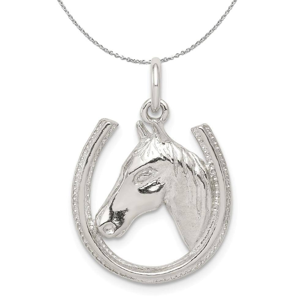 Horseshoe | Sterling | Necklace | Polish | Silver | Horse | Head