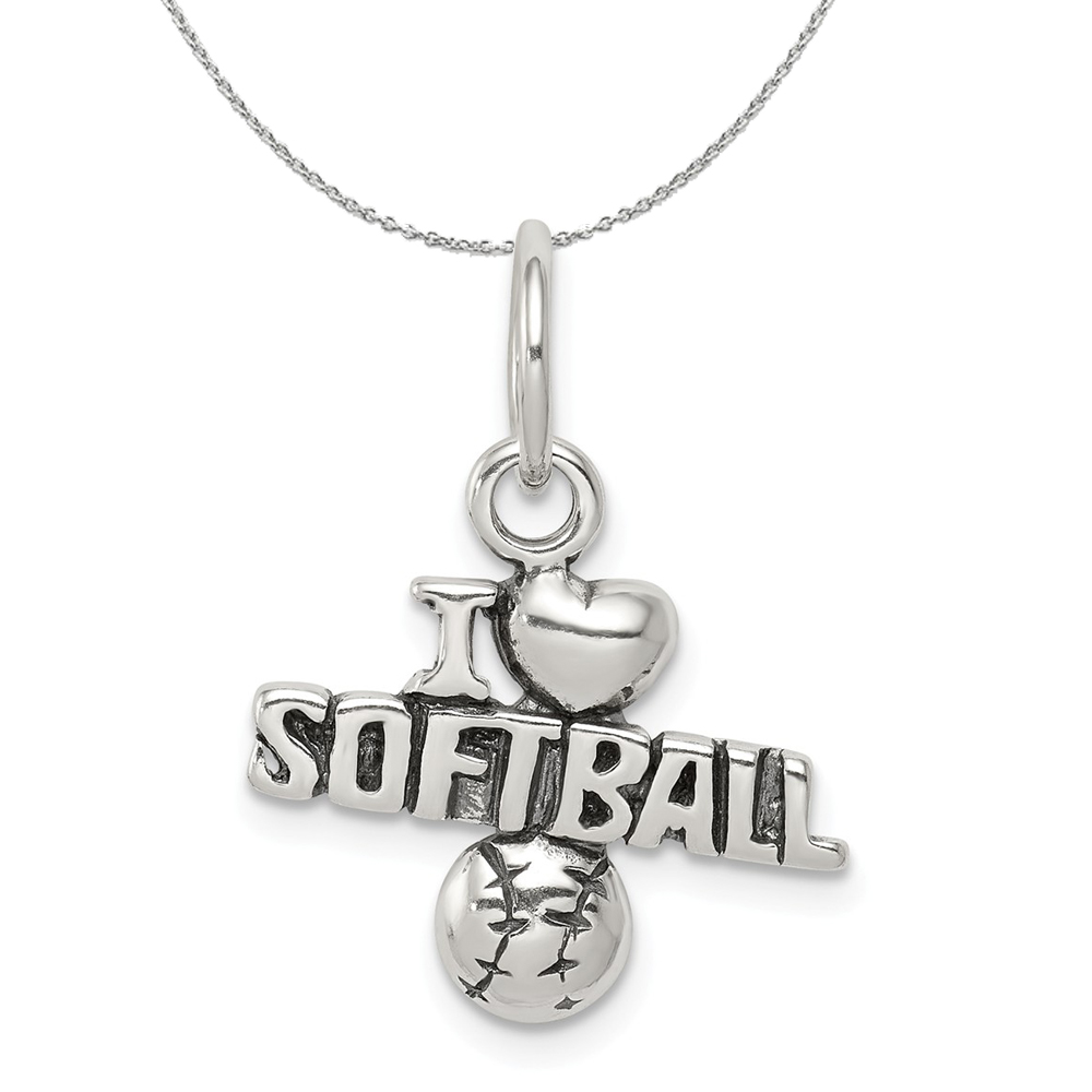 Softball   Sterling   Necklace   Antique   Silver   Charm   Heart