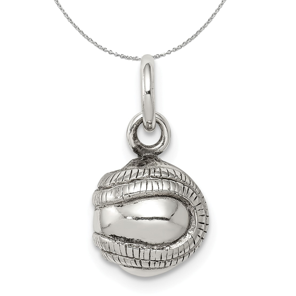 Sterling | Necklace | Baseball | Antique | Silver | Charm | 3D