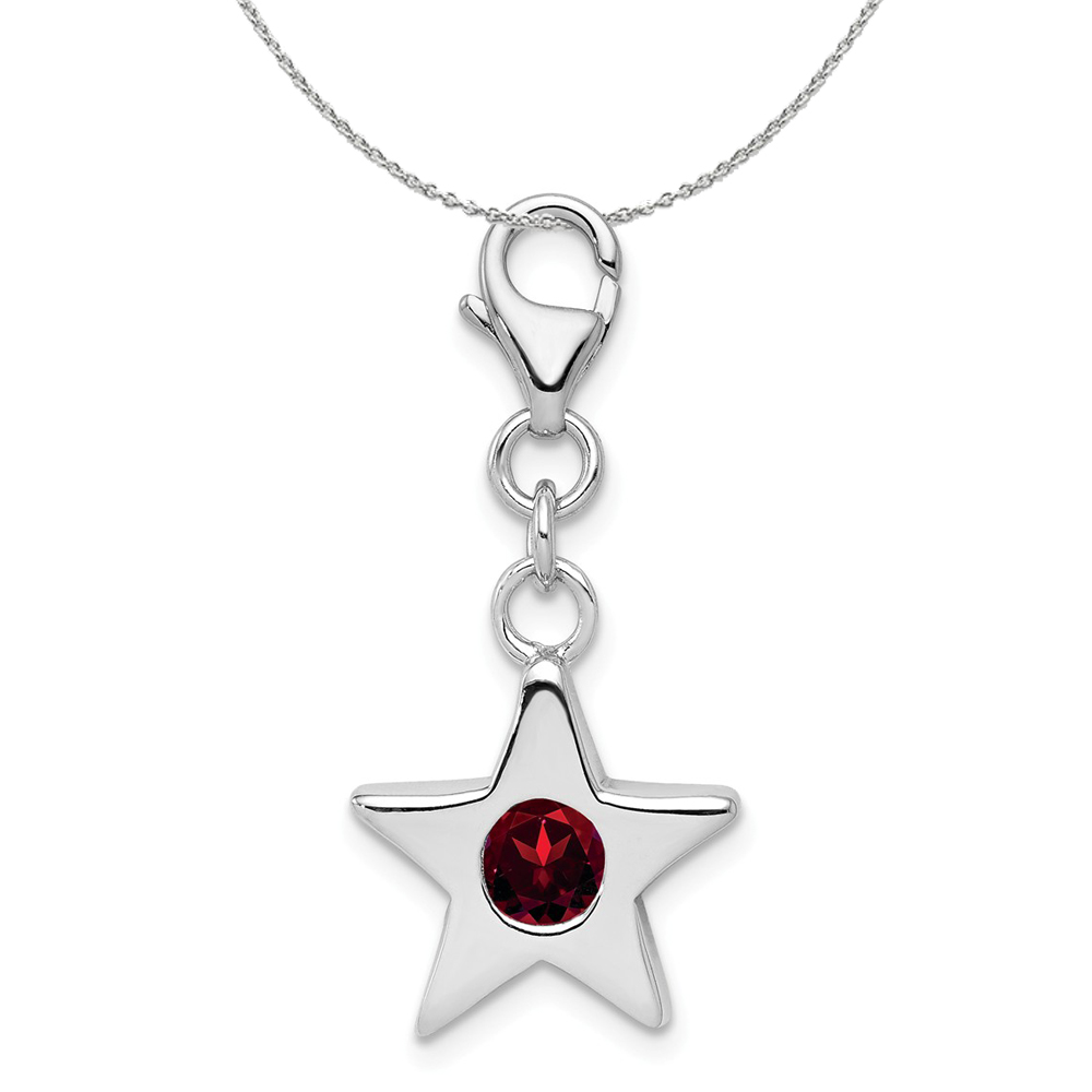 Birthstone | Necklace | January | Silver | Charm | Star