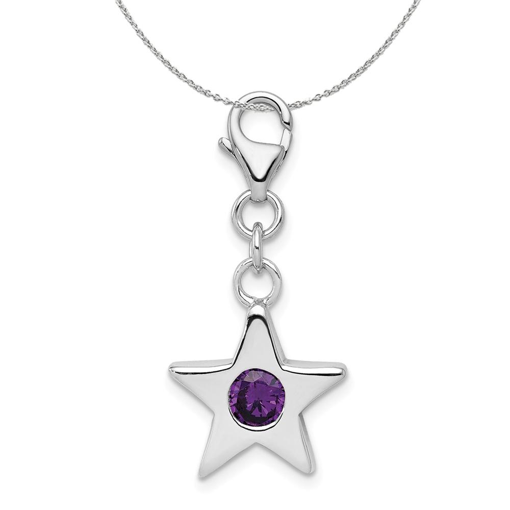 Birthstone | February | Necklace | Silver | Charm | Star