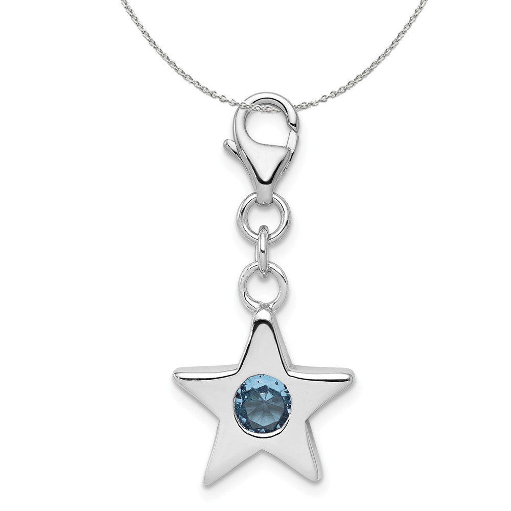 Sterling Silver March Cz Birthstone 13mm Star Clip-on Charm Necklace