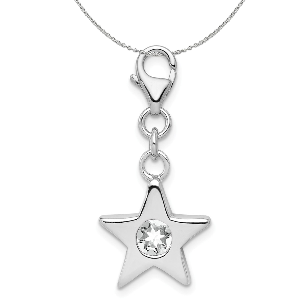 Birthstone | Necklace | Silver | April | Charm | Star