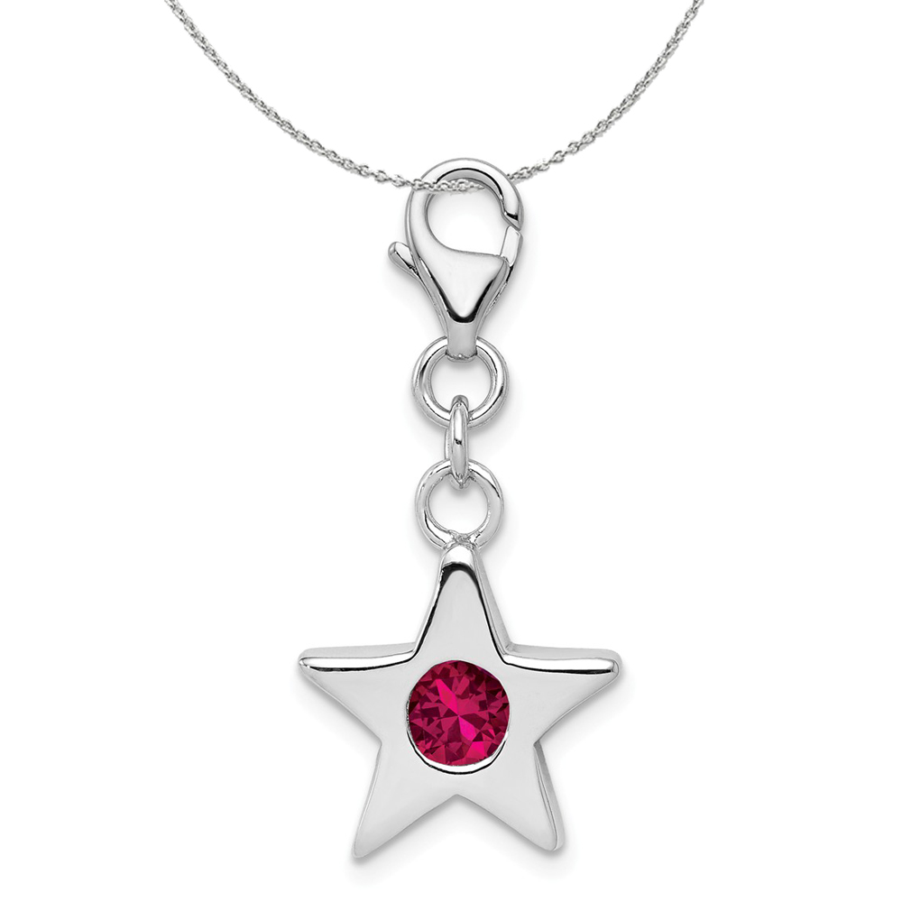 Birthstone | Necklace | Silver | Charm | July | Star