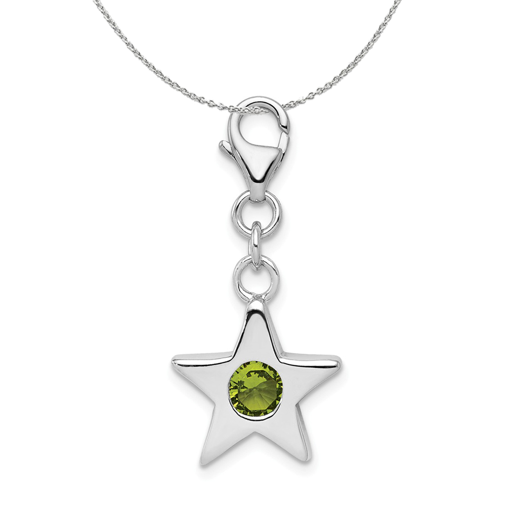 Birthstone | Sterling | Necklace | August | Silver | Charm | Star