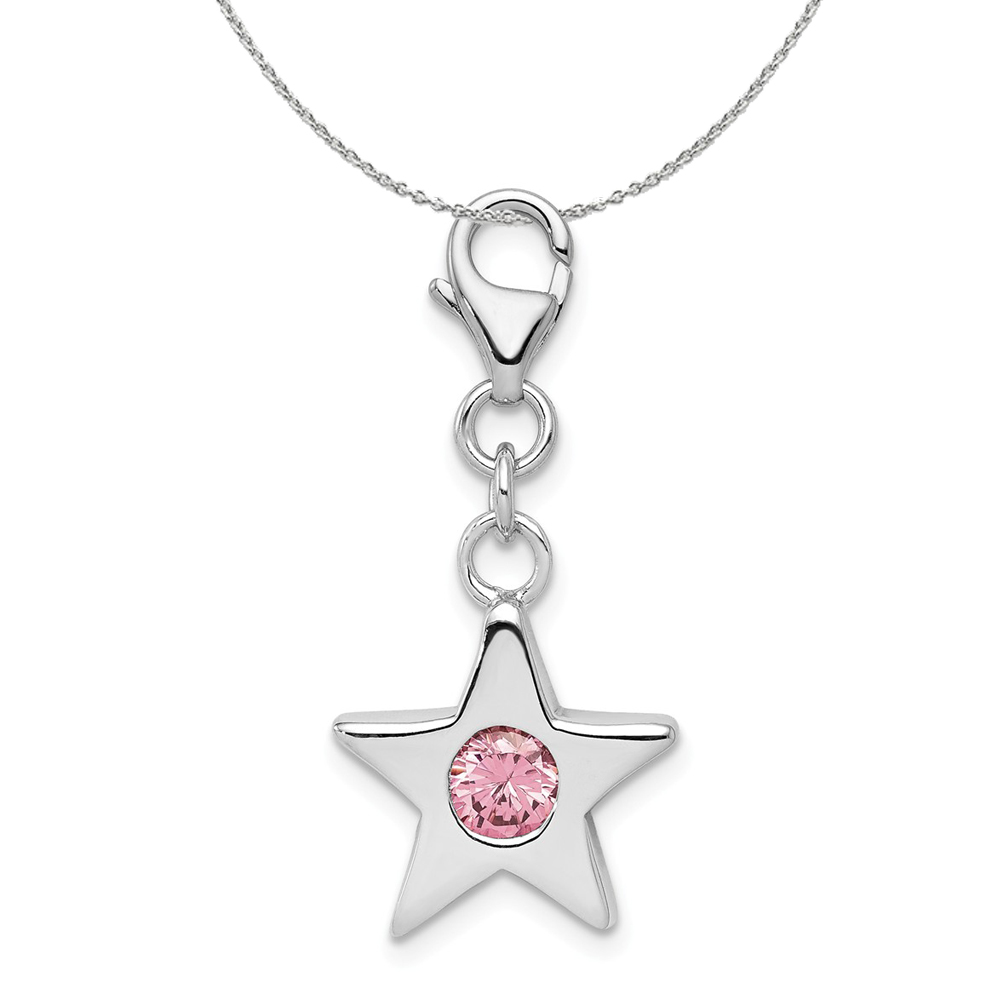 Birthstone | Necklace | October | Silver | Charm | Star
