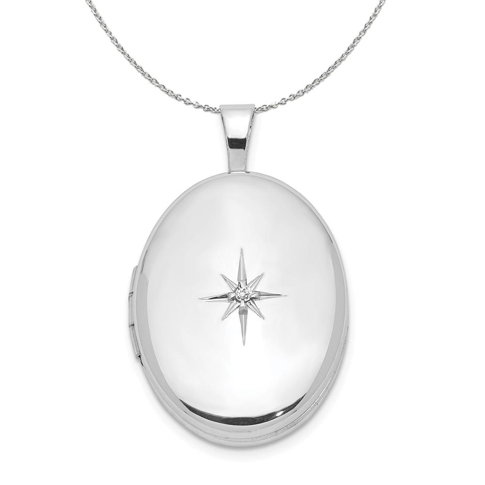 Sterling | Necklace | Diamond | Locket | Silver | Oval