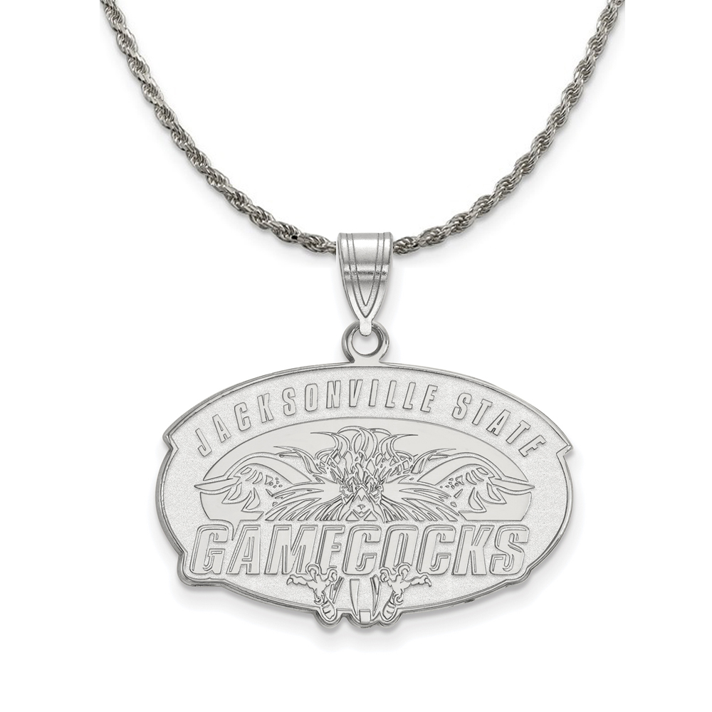 Jacksonville | Sterling | Necklace | Pendant | Silver | Large | State | NCAA