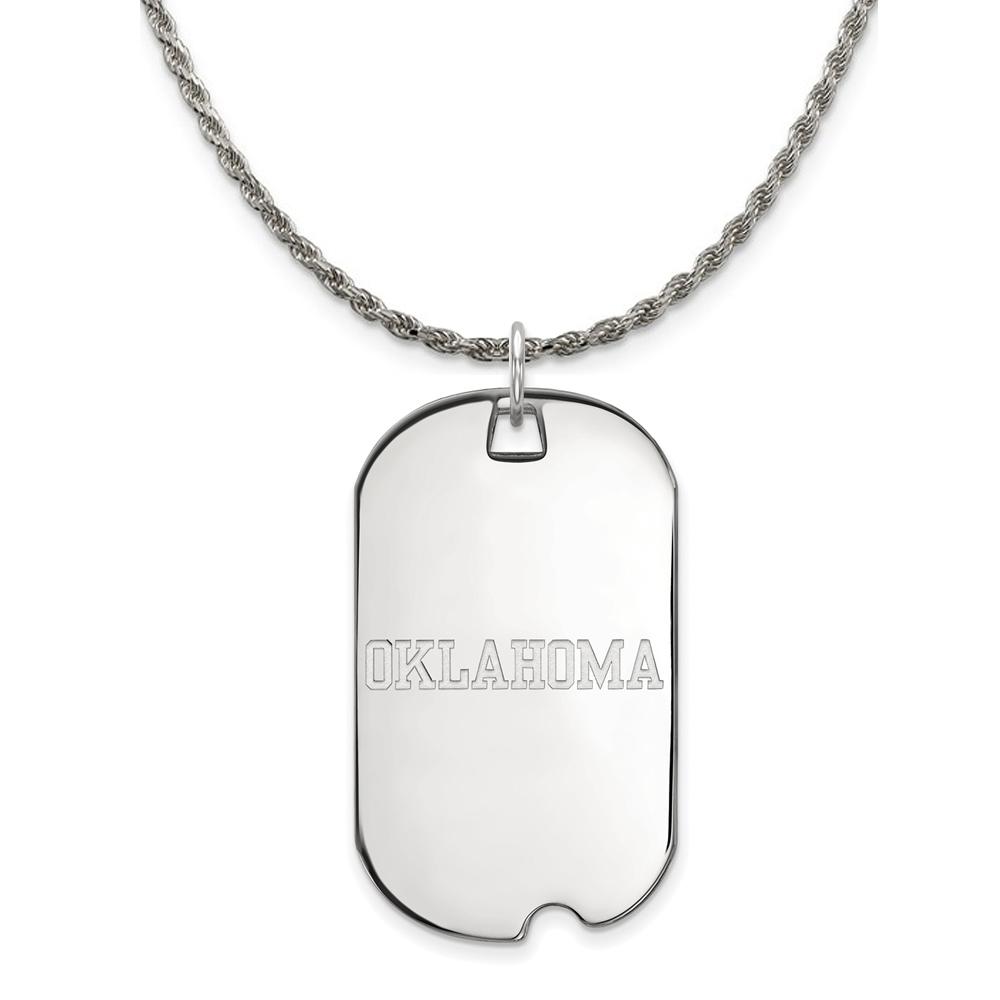 Oklahoma | Necklace | Pendant | Silver | Large | NCAA | Tag | Dog