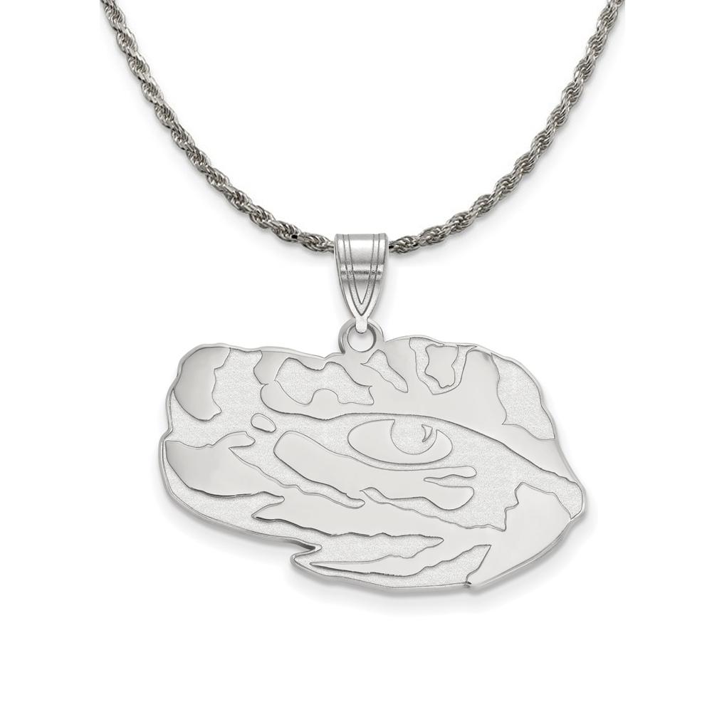 Louisiana | Sterling | Necklace | Pendant | Silver | Large | State | NCAA | Logo