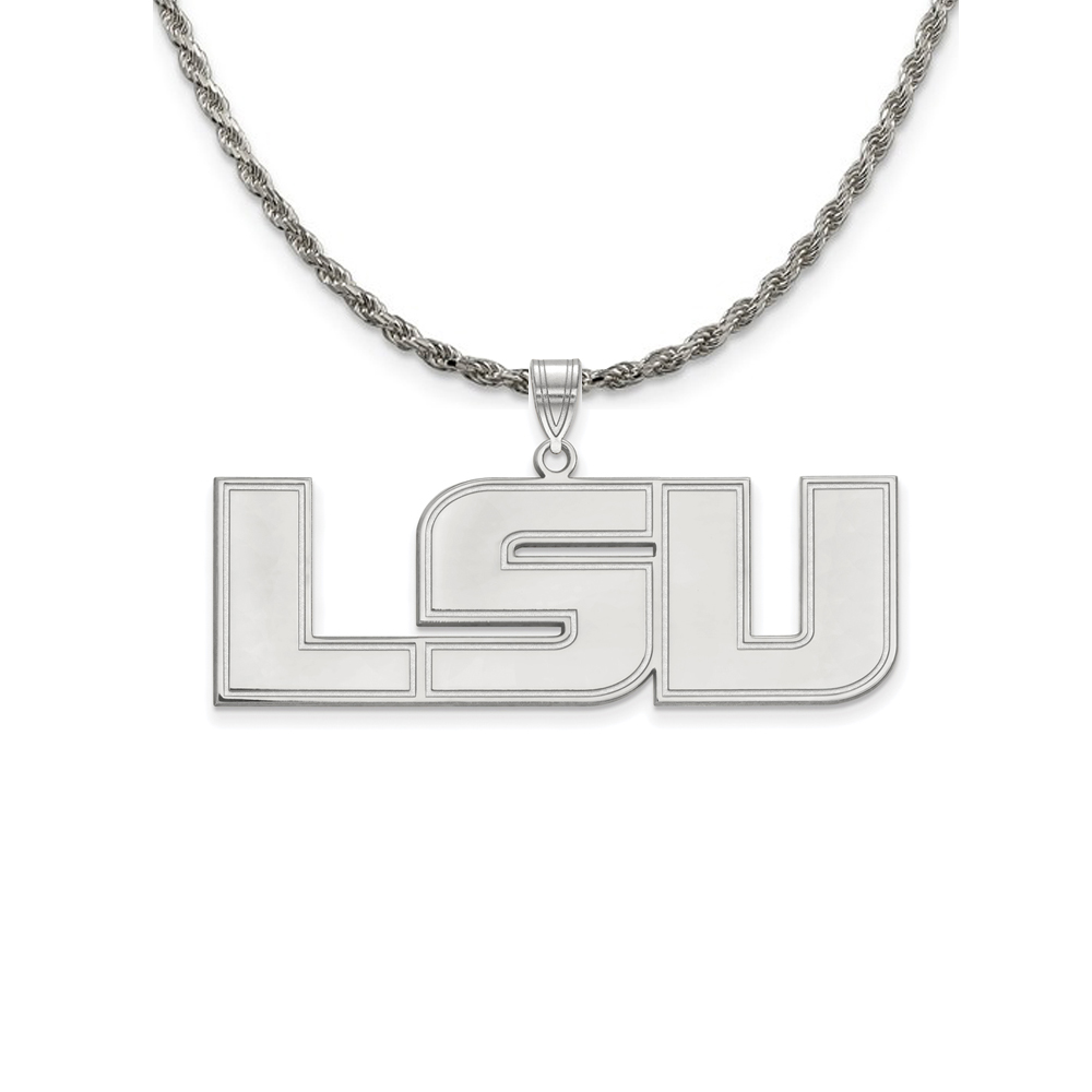 Louisiana   Sterling   Necklace   Pendant   Silver   State   NCAA