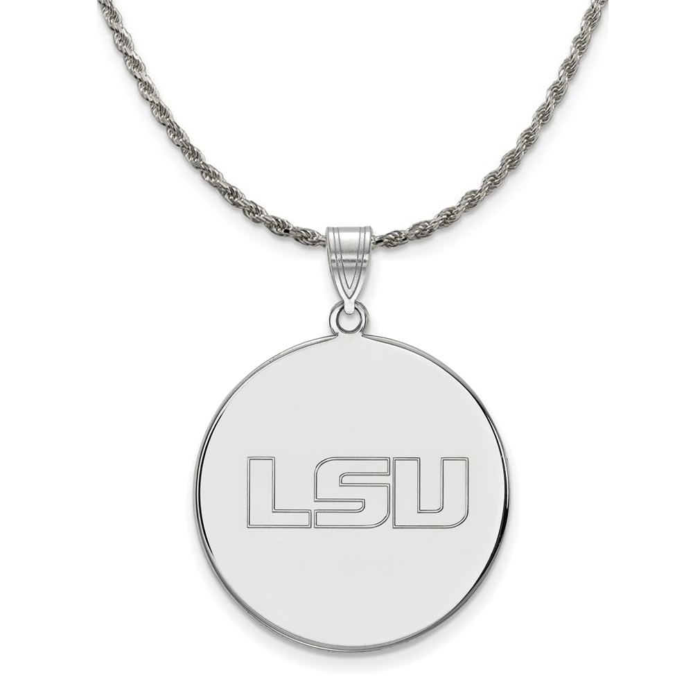Louisiana | Sterling | Necklace | Pendant | Silver | State | Disc | NCAA