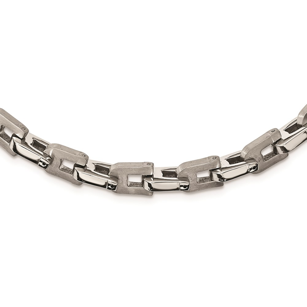 Men's Stainless Steel Brushed and Polished Shackle Link Necklace