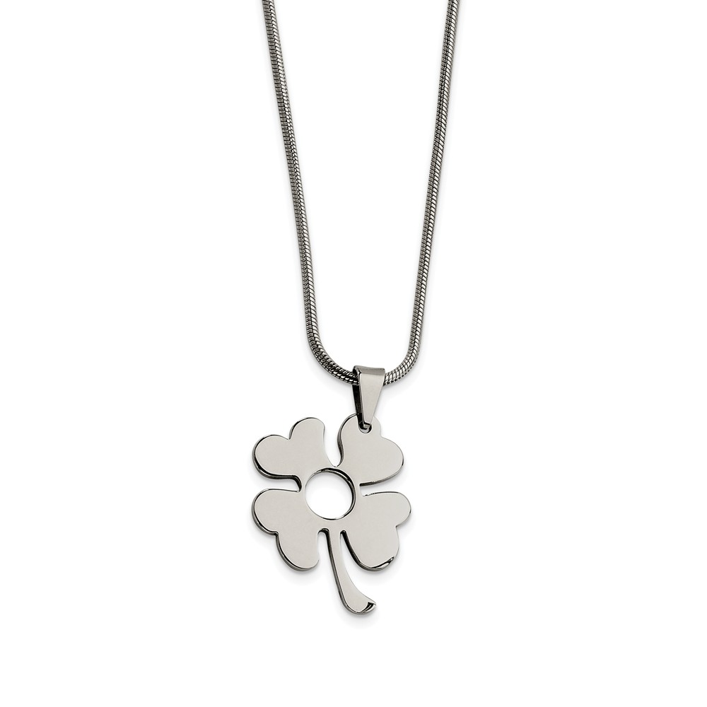 Women's Stainless Steel Polished Four Leaf Clover Necklace