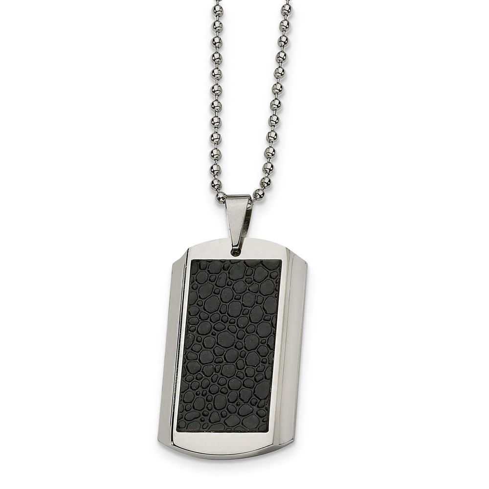 Men's Stainless Steel and Textured Faux Leather Dog Tag Necklace