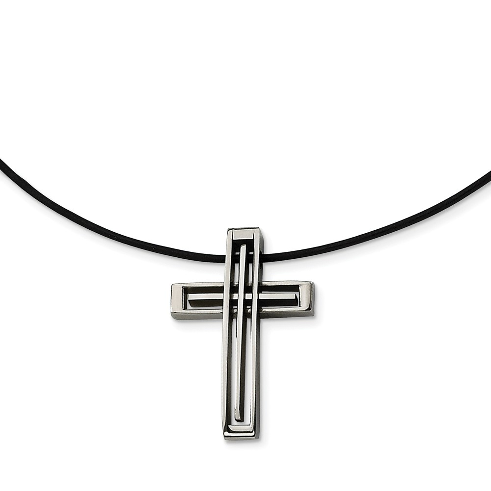 Stainless Steel and Leather Cord Shadow Box Cross Necklace - 18 Inch
