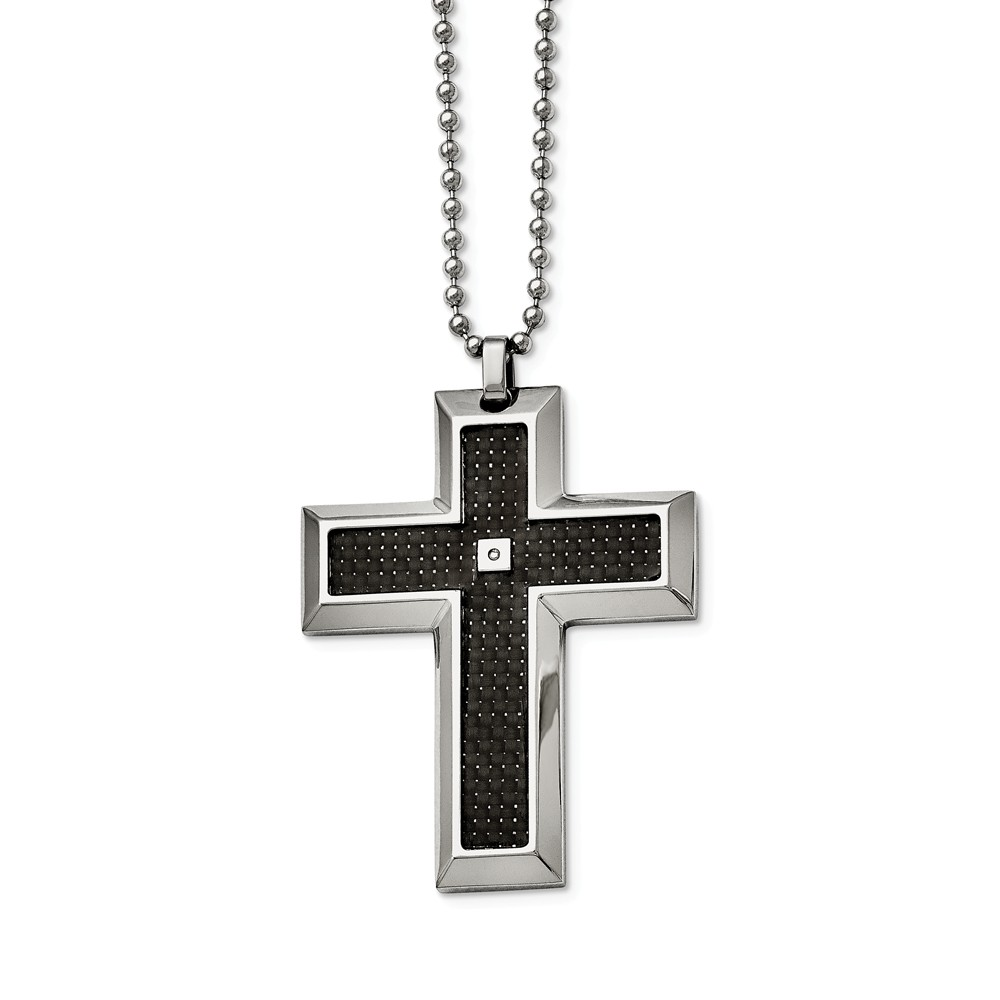 Stainless Steel, Carbon Fiber and Diamond Accent Cross Necklace