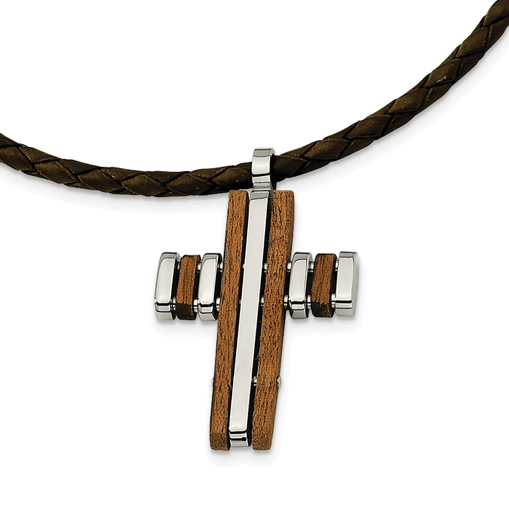 Stainless Steel and Wood Accent Cross Necklace