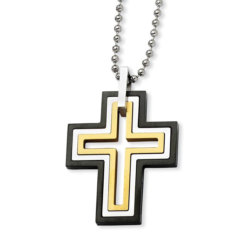 Stainless Steel, Black and Gold Tone Moveable Cross Necklace
