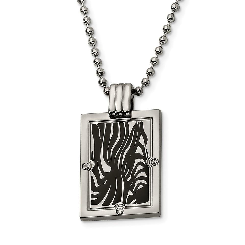 Titanium and Black Enamel Diamond Necklace