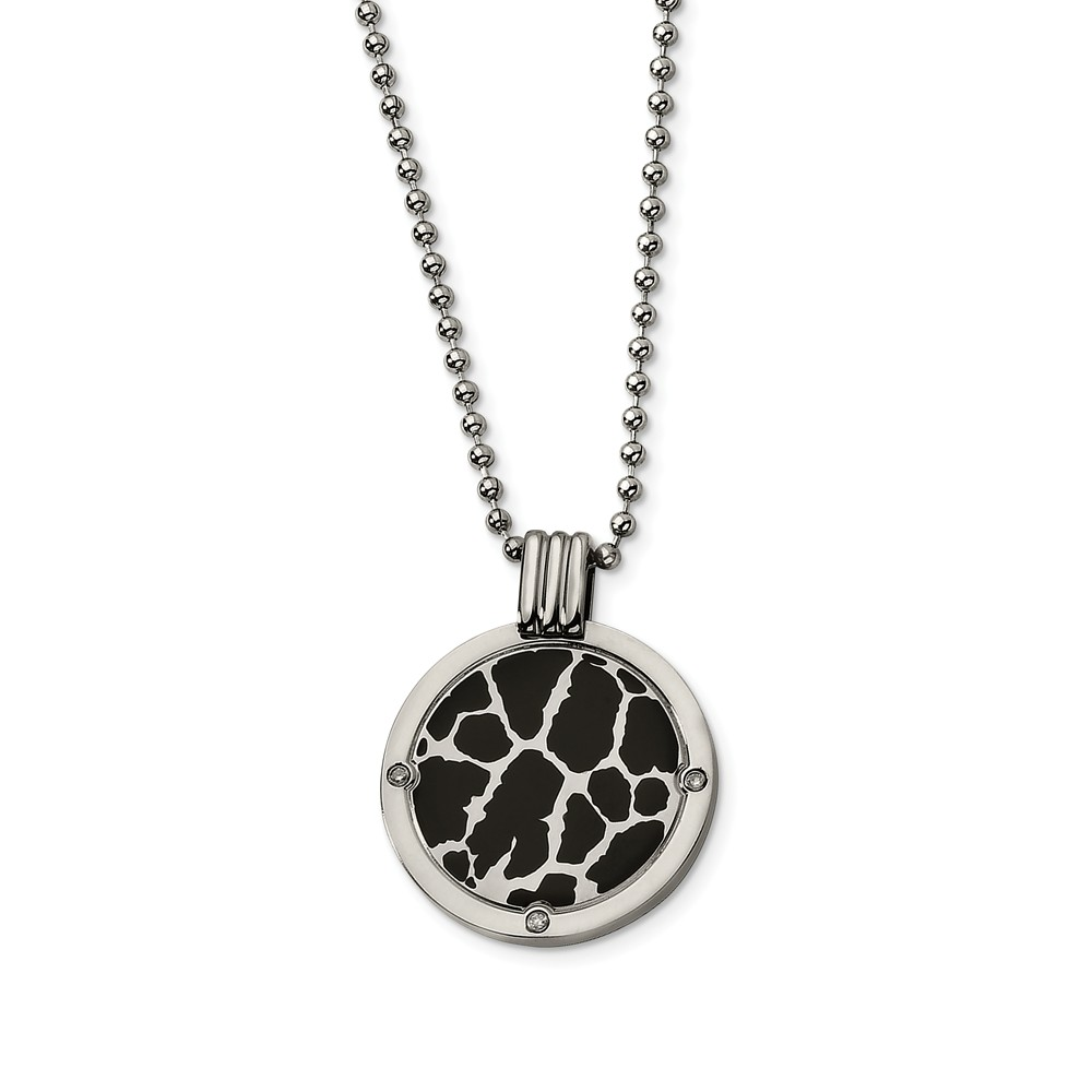 Titanium and Black Enamel Diamond Circle Necklace