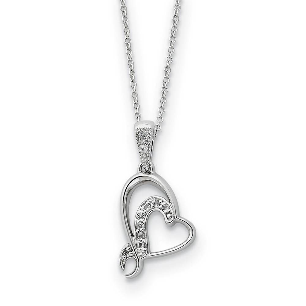 Sterling Silver & CZ My Sister or My Bridesmaid Heart Necklace, 18 In.